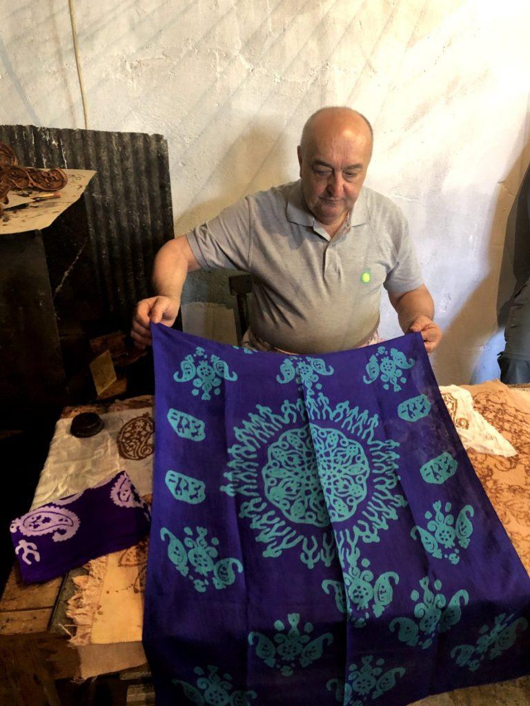 Silk scarf artisan in Sheki, Azerbaijan | Feride Buyuran Tours