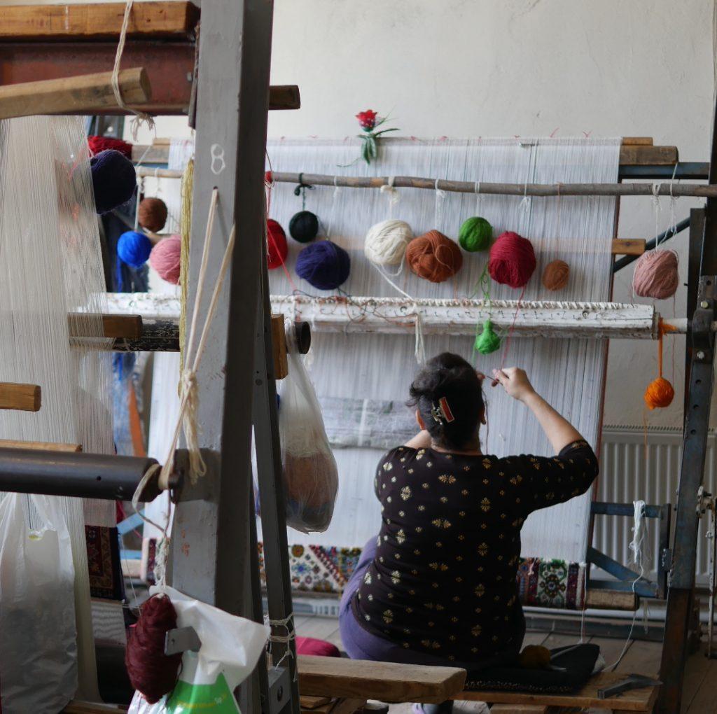 Carpet weaver, Azerbaijan   Feride Buyuran Tours